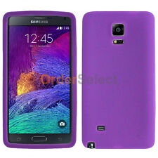Silicone Soft Slim Rubber Gel Case Cover Skin for Samsung Galaxy Note 4 Purple