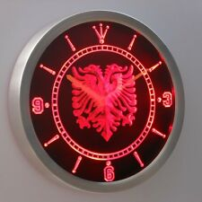 nc0400-r Albanian Eagle Bar Pub Neon Sign LED Wall Clock