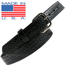 "Men Boston Leather Belt 1-1/4"" off Duty Belt USA MADE 6607 Black 30-60 Buckle"