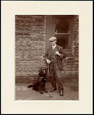 FLAT COATED RETRIEVER COLLECTING DOG AND MAN GREAT PHOTO PRINT READY MOUNTED