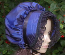 Victorian ladies bonnet costume fancy dress Dickensian carol singer blue taffeta