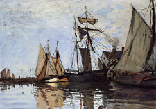 Art Oil painting Claude Monet - Boats in the Port of Honfleur Hand painted