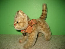 Vintage~1959-66~Steiff~TAPSY~Mohair Cat~Katze~Original Chest Tag, Bell & Ribbon