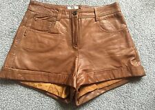 Butter Soft RIVER ISLAND Tan Brown Leather Shorts UK6 Festival Boho Ibiza