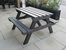 ADULT PICNIC TABLE- SEAT BENCH BROWN-100% RECYCLED PLASTIC-MAINTENANCE FREE-