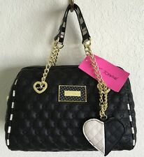 BETSEY JOHNSON QUILTED HEARTS BLACK STRIPES MEDIUM BARREL SATCHEL HAND BAG NWT
