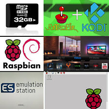 Triple-Boot Kodi 16.1 RetroPie 4.1 SD Card 32gb for Raspberry Pi 2 & 3