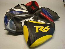 CUSTOM PASSENGER SEAT COVER ON VINYL FOR YAMAHA YZF R6 06 / 07