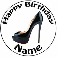 """Black Shoe High Heel Personalised Icing Cake Topper Round Pre-cut 8"""" (20cm)"""