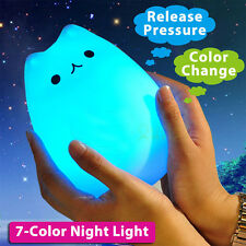 Colorful Rechargeable Silicone LED Night Light Desk Bedroom Lamp Cute Kitty Soft