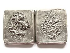 ARGENT MASSIF CHINESE EXPORT SILVER CIGARET CASE DRAGON ETUI CIGARETTES CHINE