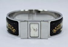 Hermes Loquet Black Enamel Equestrian Bracelet Wrist Ladies Watch L01.210