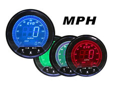 85mm EVO DIGITAL Speedometer Gauge LED  BLUE RED GREEN WHITE + GPS Sensor MPH