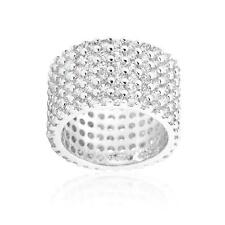 22.5 Ct Clear CZ Round Cut Silver Pave Wide Eternity Cocktail Ring Band~Size 10