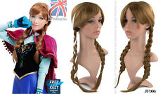 UK Adult Princess Anna Snow Queen Frozen Brown Weaving Braid Cosplay Wig JF006