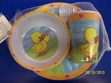 Baby Duck Ducky Yellow 1st Birthday Party Gift Plate Bowl Melamine Tableware Set