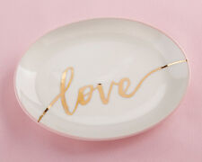 6 LOVE Gold Foil Ceramic Trinket Dish Dishes Bridesmaid Gift Lot Q37025