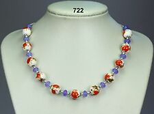 Red lilac flower 12mm porcelain bead necklace, violet jade stones, silver chain