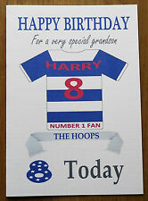 """QUEENS PARK FAN Unofficial PERSONALISED Football Birthday Card (""""THE HOOPS"""")"""