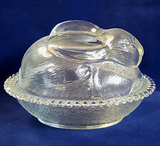 "Vintage Glass Nesting Bunny Rabbit Clear Candy Dish Trinket Box 5""H x 8""L"