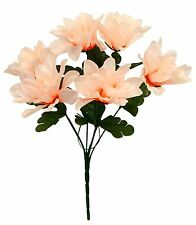 6 DAHLIA Flowers ~ LIGHT PEACH ~ Silk Bush Wedding Bridal Bouquets Centerpieces