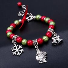 Xmas Santa Claus Beaded Bracelet Pearl Charm Bangle Christmas Women Snowflake