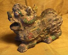 Antique/Ancient Chinese Painted Pottery Fu Foo Lion Dog Dragon Incense Figurine