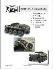 Argo 8x8 HDi HD Avenger Amphibious ATV Service Manual CD - 700 750 P H X S V