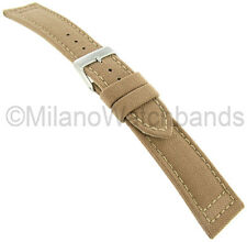 18 mm Hadley Roma Padded Stitched Genuine Cordura Canvas Sand Tan Watch Band 850