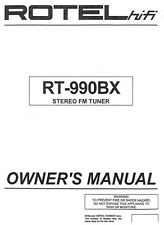 Rotel RT-990BX Tuner Owners Manual