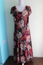 SOON Brown Chiffon Dress UK Size 16 Sequin and Bead Embellished