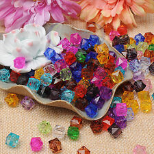 100pcs Clear Square Faceted Acrylic Crystal Spacer Beads Jewelry Making 10mm C