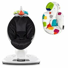 Brand New 4Moms Mamaroo, Black Classic + 4moms Newborn Insert Multi Plush