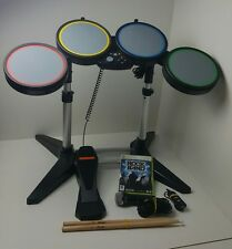 xbox 360 rock band drum kit microphone and game bundle