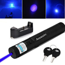 Blue Purple 5mw 405nm Laser Pointer Cat Toy Powerful Laser Pen + Battery+Charger