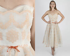 Vintage 50s Chiffon Wedding Dress Tulle Cocktail Party Velvet Floral Midi Maxi M