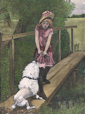 POODLE DOG GREETINGS NOTE CARD YOUNG GIRL IN PINK DRESS AND WHITE DOG ON BRIDGE