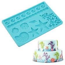 Blue Seashell Conch Wave Star Fondant Cake Embossing Mould Decor Silicone Mold ~