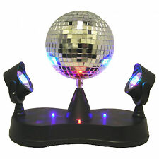 Mirror Ball with Twin Projector Lamp Pedestal Stand Disco Party DJ Stage Light