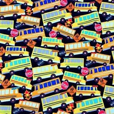 Head of the Class Bus Stop School Buses Traffic Lights Cotton Fabric Fat Quarter