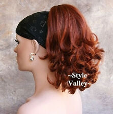 Red Ponytail hairpiece Extension straight Hair Piece w/curly ends Claw Clip in/o