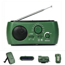 Multifunction Crank Power FM/AM Radio Solar Flashlight+ Emergency Charger as Top
