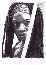 Aceo art sketch card danai gurira comme michonne from the walking dead série tv