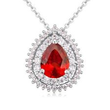 18K WHITE GOLD PLATED & GENUINE SWAROVSKI CRYSTAL & RED CZ DROP NECKLACE