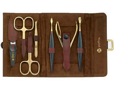 Niegeloh Solingen Alamo XL Leather Manicure Set 7 Piece 24ct Gold Plated Tools i