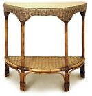 Bermuda Cane/Wicker/Rattan Half Moon/Hall Way/Console Table with Glass Top