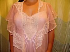 VINTAGE EXTREMELY FLUFFY NYLON NIGHTGOWN / PEIGNOIR SET by SOFT MOMENTS Sz M