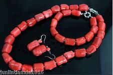 Natural Red Coral Bead Cylinder Choker Necklace18''  Bracelet 7.5'' Earring Set