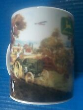 Gibson Collectible John Deere Tractor & Airplane Farm Ceramic Coffee Mug Cup