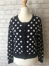 Classic Navy White Spotty Polka Dots Ladies Cardigan Papaya Size 12 Cotton Mix